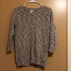 Brown and cream sweater, 3/4 sleeve